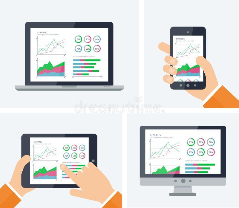 Επίπεδος διανυσματικός infographic με τις γραφικές παραστάσεις και στοιχεία διαγραμμάτων στις διάφορες συσκευές οθονών Έκθεση στα απεικόνιση αποθεμάτων