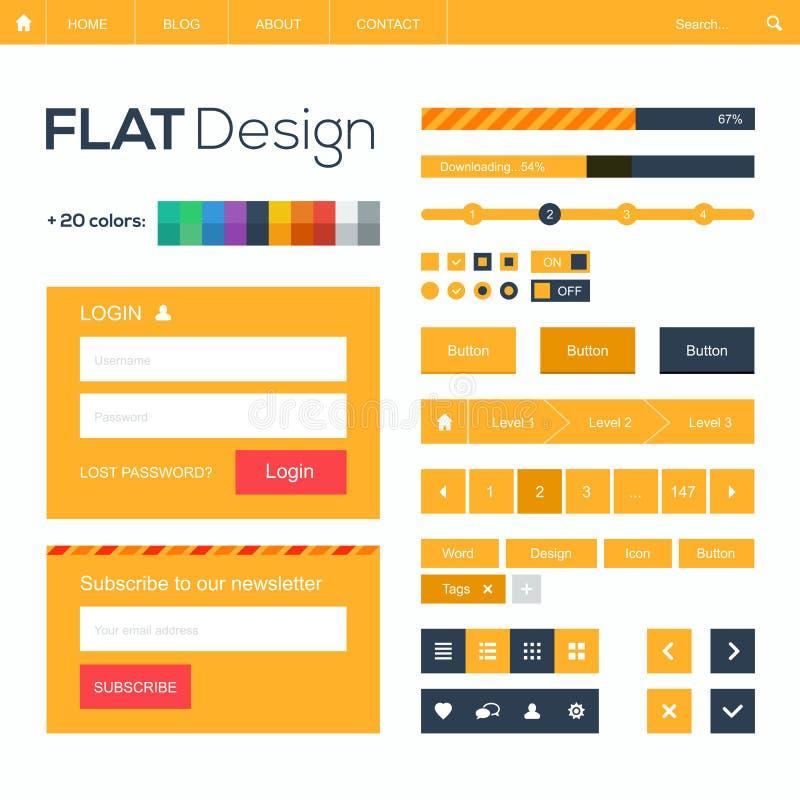 Επίπεδος Ιστός και κινητά στοιχεία και εικονίδια σχεδίου. απεικόνιση αποθεμάτων