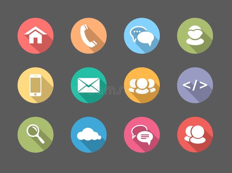 Επίπεδος Ιστός σχεδίου, εικονίδια επικοινωνίας: Διαδίκτυο απεικόνιση αποθεμάτων