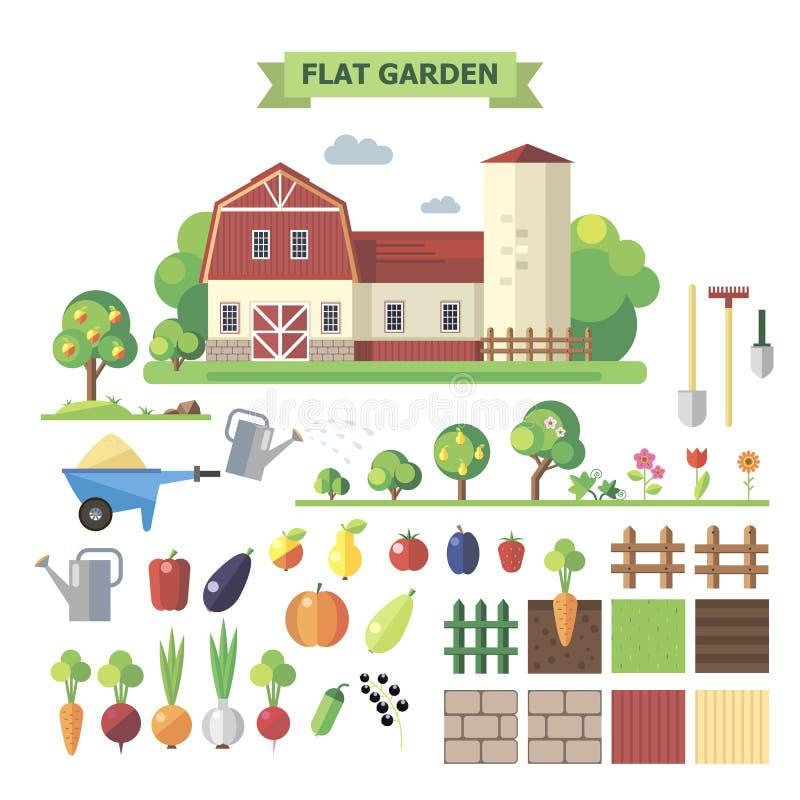 Επίπεδος κήπος με τη αγροικία διανυσματική απεικόνιση