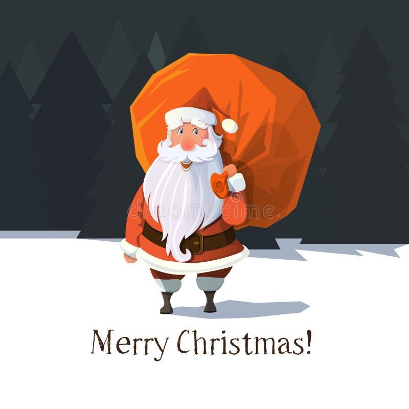 Επίπεδος καθιερώνων τη μόδα διανυσματικός Άγιος Βασίλης διανυσματική απεικόνιση