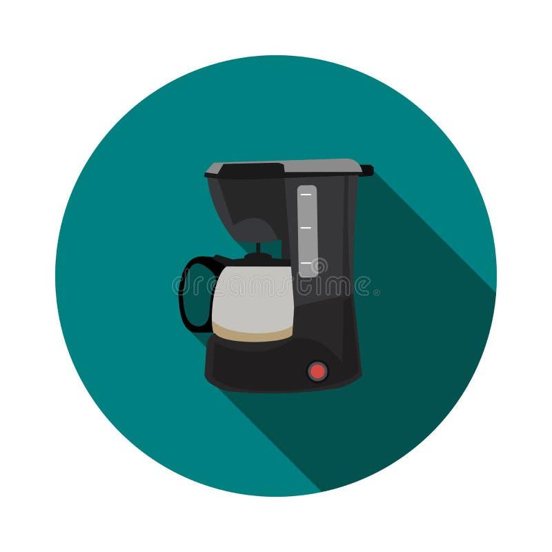 Επίπεδος κατασκευαστής καφέ εικονιδίων διανυσματική απεικόνιση