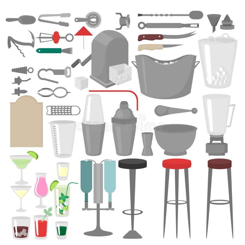 Επίπεδος μπάρμαν που αναμιγνύει, που ανοίγει και που διακοσμεί τα εργαλεία Bartender εξοπλισμός Απομονωμένο εικονίδιο οργάνων απεικόνιση αποθεμάτων