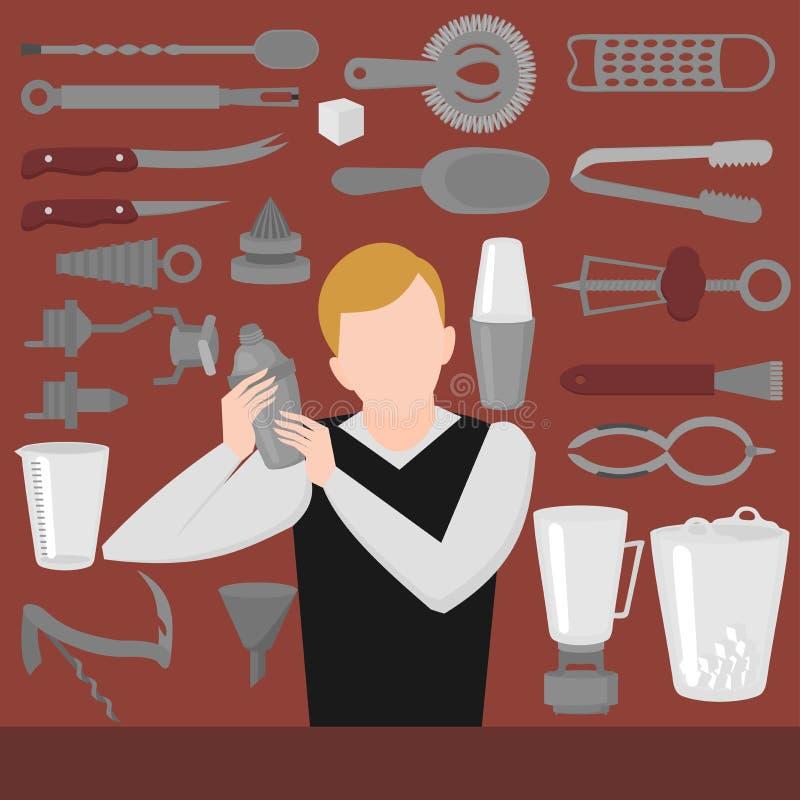 Επίπεδος μπάρμαν που αναμιγνύει, που ανοίγει και που διακοσμεί τα εργαλεία Bartender δονητής εξοπλισμού, ανοιχτήρι, που αναμιγνύε διανυσματική απεικόνιση