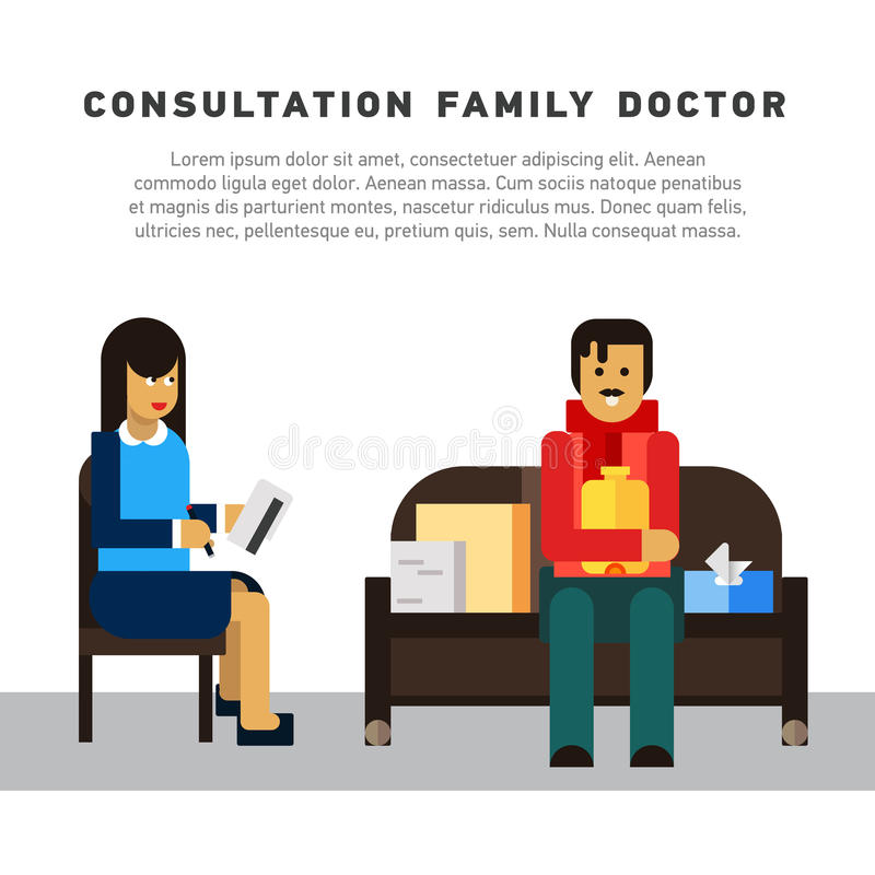 Επίπεδος οικογενειακός γιατρός διαβουλεύσεων απεικόνισης απεικόνιση αποθεμάτων