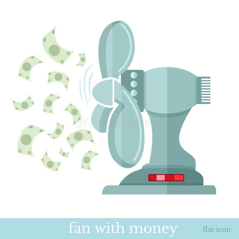 Επίπεδος οικονομικός ανεμιστήρας εικονιδίων έννοιας με τα πετώντας χρήματα ελεύθερη απεικόνιση δικαιώματος