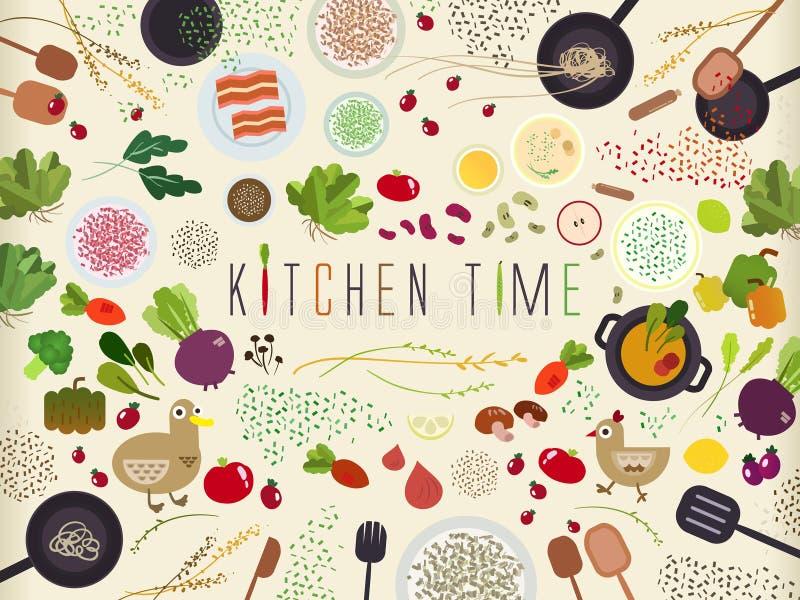 Επίπεδος πίνακας κουζινών για το μαγείρεμα στο επίπεδο σχέδιο ελεύθερη απεικόνιση δικαιώματος