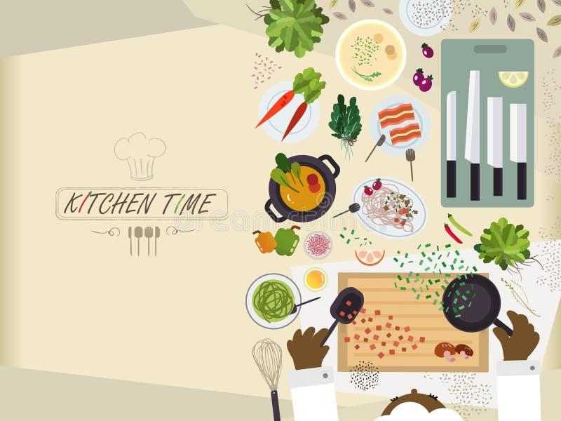 Επίπεδος πίνακας κουζινών για το μαγείρεμα στο επίπεδο σχέδιο διανυσματική απεικόνιση
