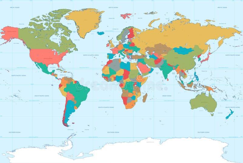 Επίπεδος παγκόσμιος χάρτης χρωμάτων διανυσματική απεικόνιση