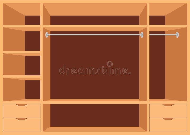 Επίπεδος περίπατος σχεδίου στο ντουλάπι με τα ράφια ελεύθερη απεικόνιση δικαιώματος