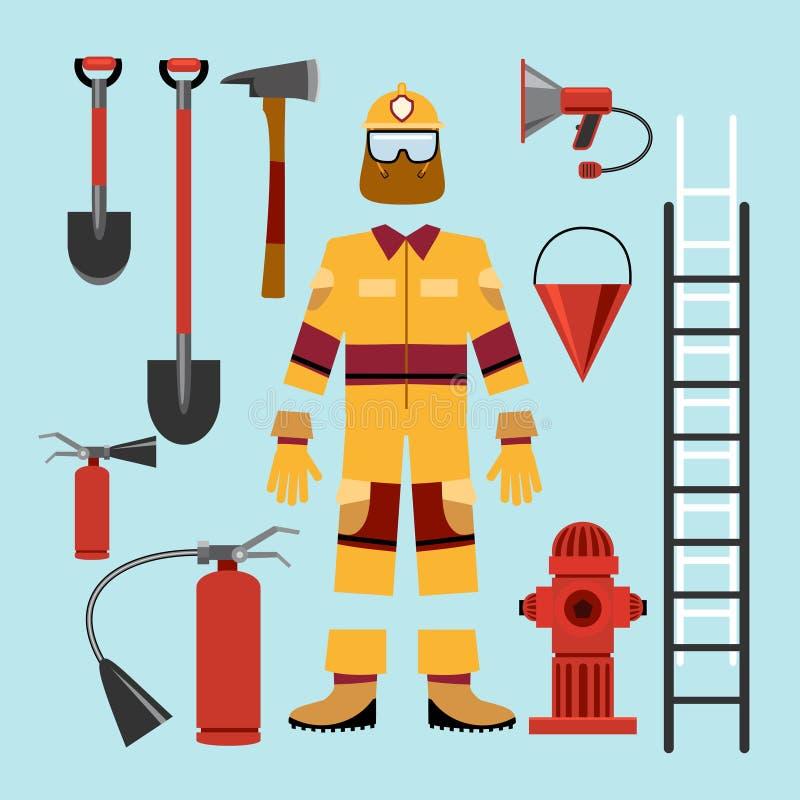Επίπεδος πυροσβέστης ομοιόμορφος και εξοπλισμός εργαλείων απεικόνιση αποθεμάτων