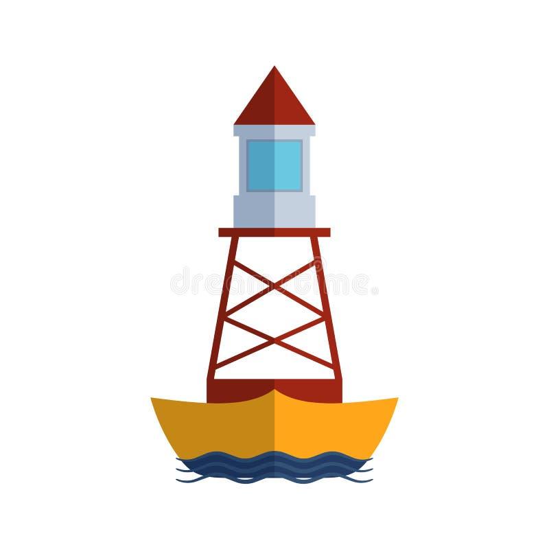 Επίπεδος πύργος προβολέων φάρων κινούμενων σχεδίων για τη θαλάσσια ελαφριά διανυσματική απεικόνιση καθοδήγησης ναυσιπλοΐας διανυσματική απεικόνιση