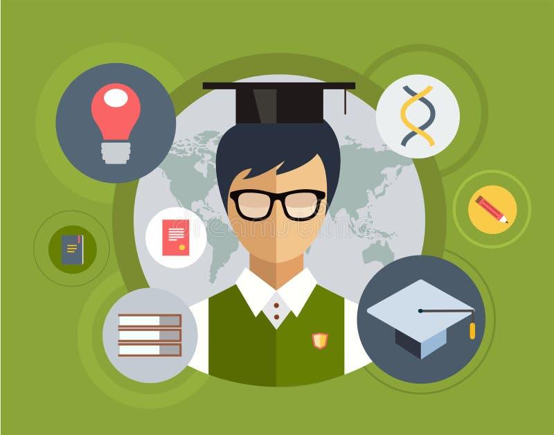 Επίπεδος σπουδαστής για τη σχολική διανυσματική απεικόνιση ελεύθερη απεικόνιση δικαιώματος