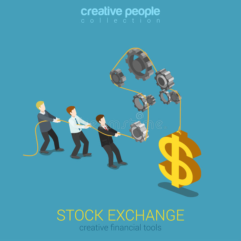 Επίπεδος τρισδιάστατος Ιστός ισορροπίας εργαλείων αγοράς χρηματοδότησης χρηματιστηρίου isometric απεικόνιση αποθεμάτων