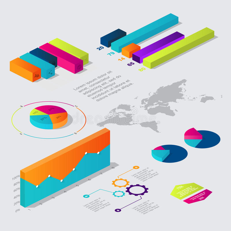 Επίπεδος τρισδιάστατος isometric infographic για τις επιχειρησιακές παρουσιάσεις σας ελεύθερη απεικόνιση δικαιώματος