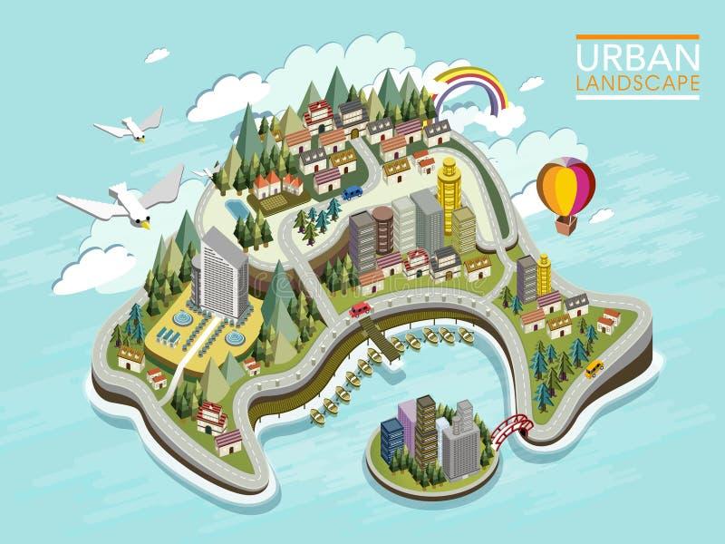 Επίπεδος τρισδιάστατος isometric infographic για το καλό αστικό τοπίο διανυσματική απεικόνιση