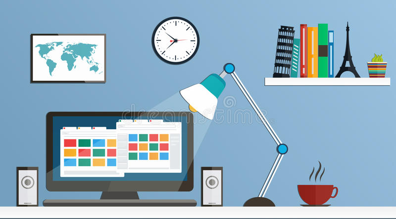 Επίπεδος υπολογιστής γραφείου σχεδίου, χώρος εργασίας απεικόνιση αποθεμάτων