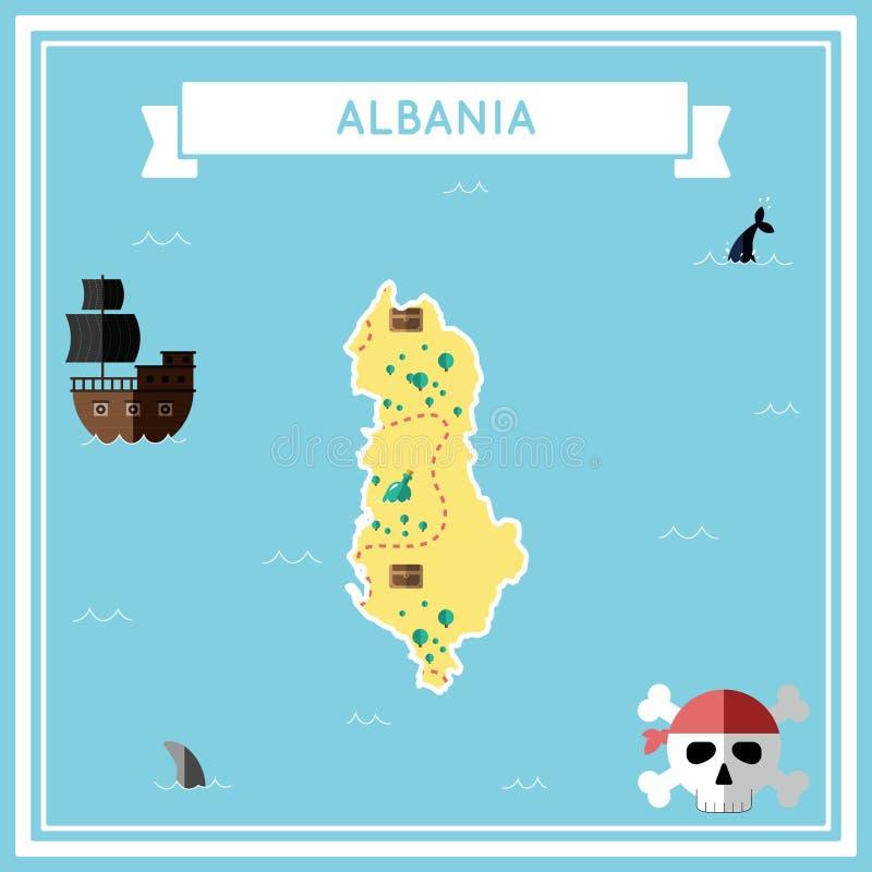 Επίπεδος χάρτης θησαυρών της Αλβανίας ελεύθερη απεικόνιση δικαιώματος