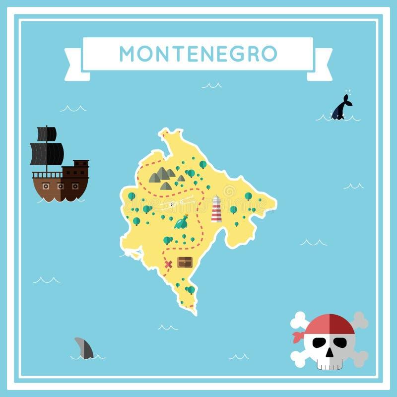Επίπεδος χάρτης θησαυρών του Μαυροβουνίου διανυσματική απεικόνιση