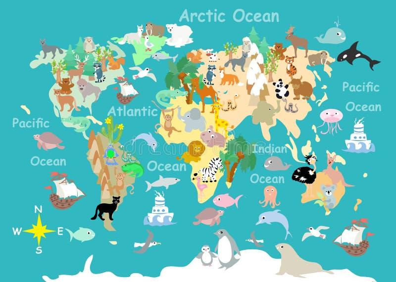 Επίπεδος χάρτης παιδιών παγκόσμιων ζώων cartoonish διανυσματική απεικόνιση