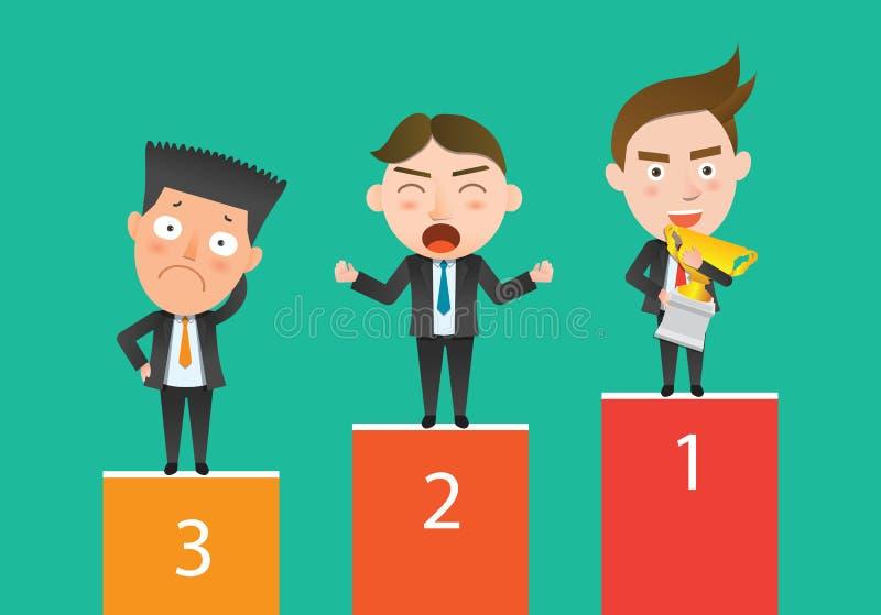 Επίπεδος χαρακτήρας έννοιας ανταγωνισμού επιχειρησιακών εταιριών διανυσματική απεικόνιση
