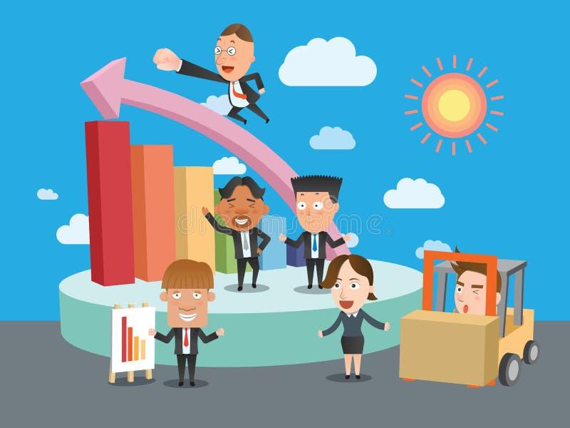 Επίπεδος χαρακτήρας έννοιας γραφικών παραστάσεων ομάδων επιχειρησιακών εταιριών ελεύθερη απεικόνιση δικαιώματος