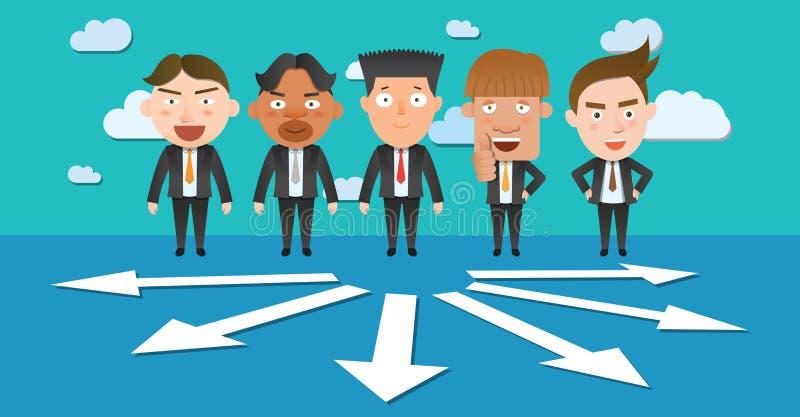 Επίπεδος χαρακτήρας έννοιας επιλογής επιχειρησιακών εταιριών ελεύθερη απεικόνιση δικαιώματος