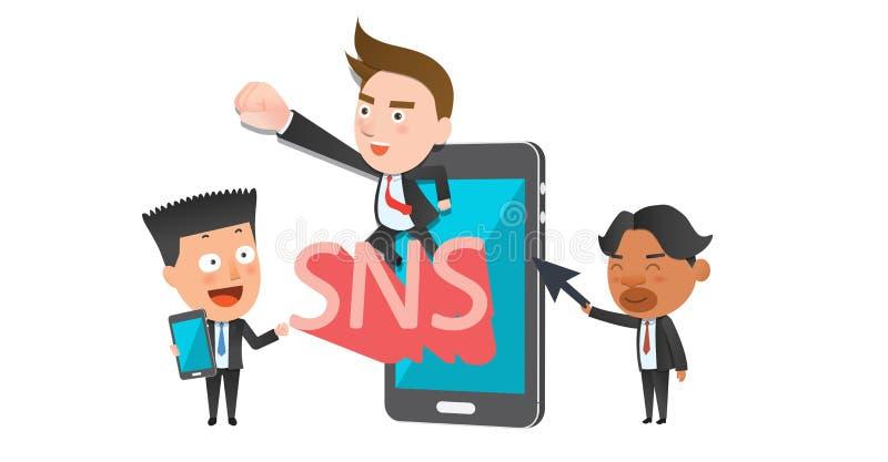 Επίπεδος χαρακτήρας έννοιας μέσων επιχειρησιακών εταιριών κοινωνικός ελεύθερη απεικόνιση δικαιώματος