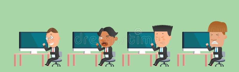 Επίπεδος χαρακτήρας έννοιας υπολογιστών ομάδων επιχειρησιακών εταιριών διανυσματική απεικόνιση