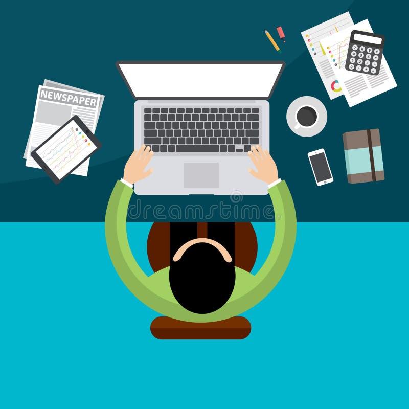 Επίπεδος χώρος εργασίας γραφείων σχεδίου δημιουργικός, έννοια του χώρου εργασίας απεικόνιση αποθεμάτων