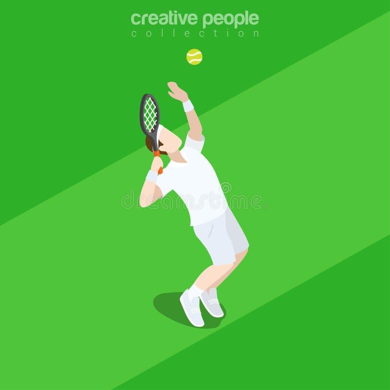 Επίπεδος isometric διανυσματικός αθλητισμός τενιστών τρισδιάστατος ελεύθερη απεικόνιση δικαιώματος