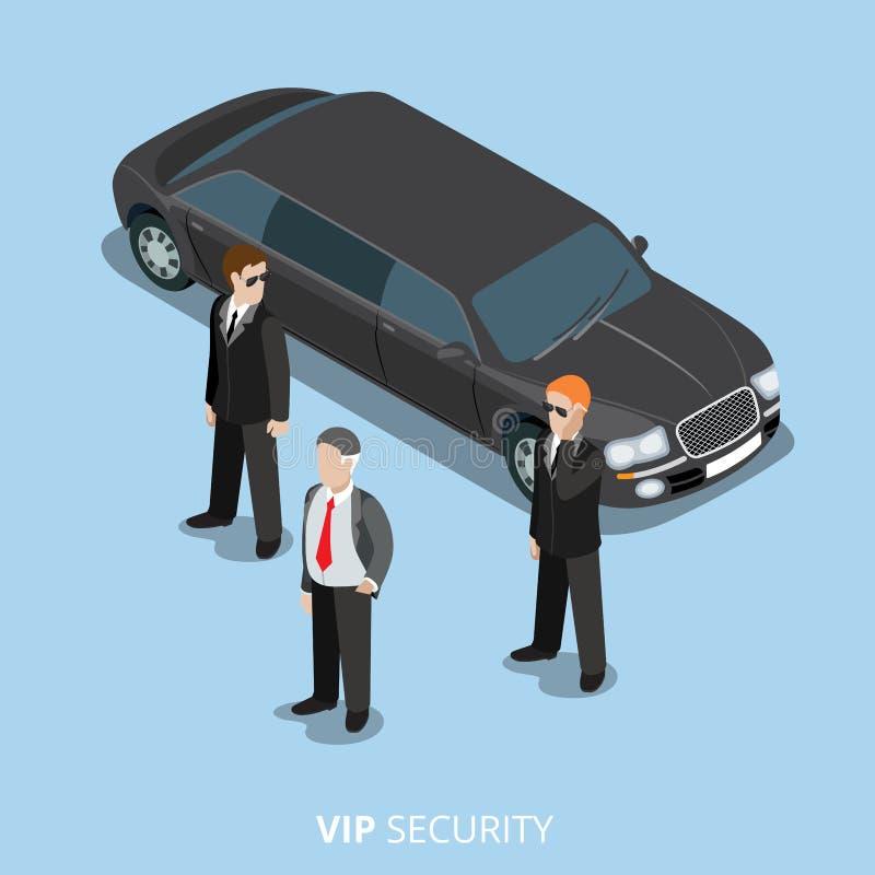 Επίπεδος isometric διανυσματικός τρισδιάστατος υπηρεσιών σωματοφυλακών VIP ασφάλειας απεικόνιση αποθεμάτων