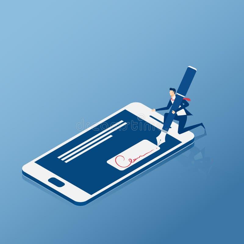 Επίπεδος Isometric Ψηφιακή υπογραφή Σημάδι επιχειρηματιών στο smartphone διανυσματική απεικόνιση
