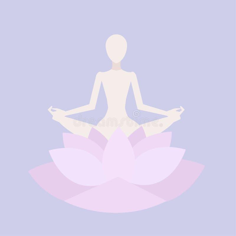 Επίπεδος meditating άνθρωπος διανυσματική απεικόνιση