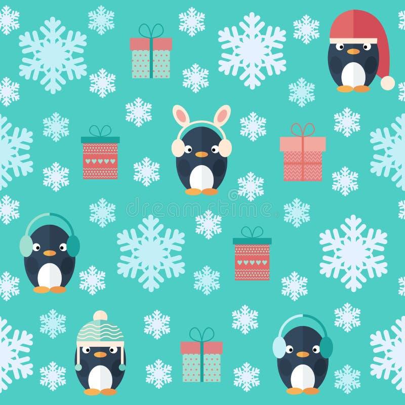 Επίπεδο άνευ ραφής σχέδιο Χριστουγέννων με τα δώρα και penguins απεικόνιση αποθεμάτων