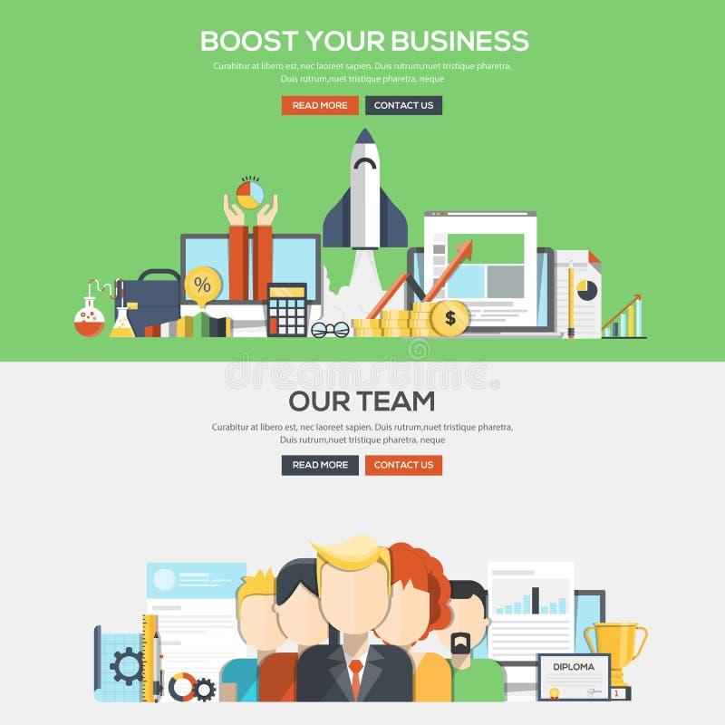 Επίπεδο έμβλημα έννοιας σχεδίου - Bosst η επιχείρησή σας και η ομάδα μας απεικόνιση αποθεμάτων