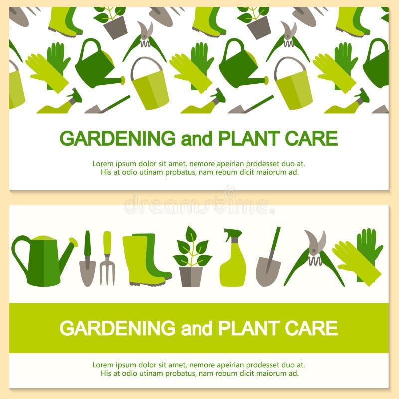 Επίπεδο έμβλημα σχεδίου για την κηπουρική και την προσοχή εγκαταστάσεων διανυσματική απεικόνιση
