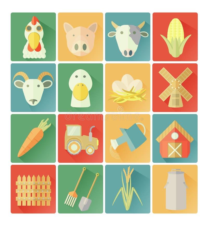 Επίπεδο αγροτικό σύνολο εικονιδίων απεικόνιση αποθεμάτων