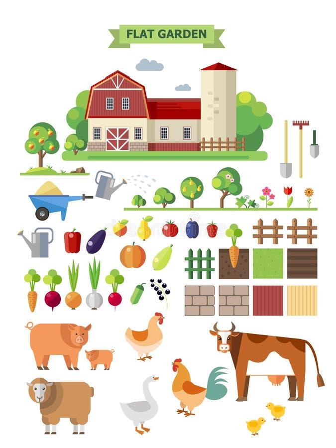 Επίπεδο αγρόκτημα με τη αγροικία διανυσματική απεικόνιση
