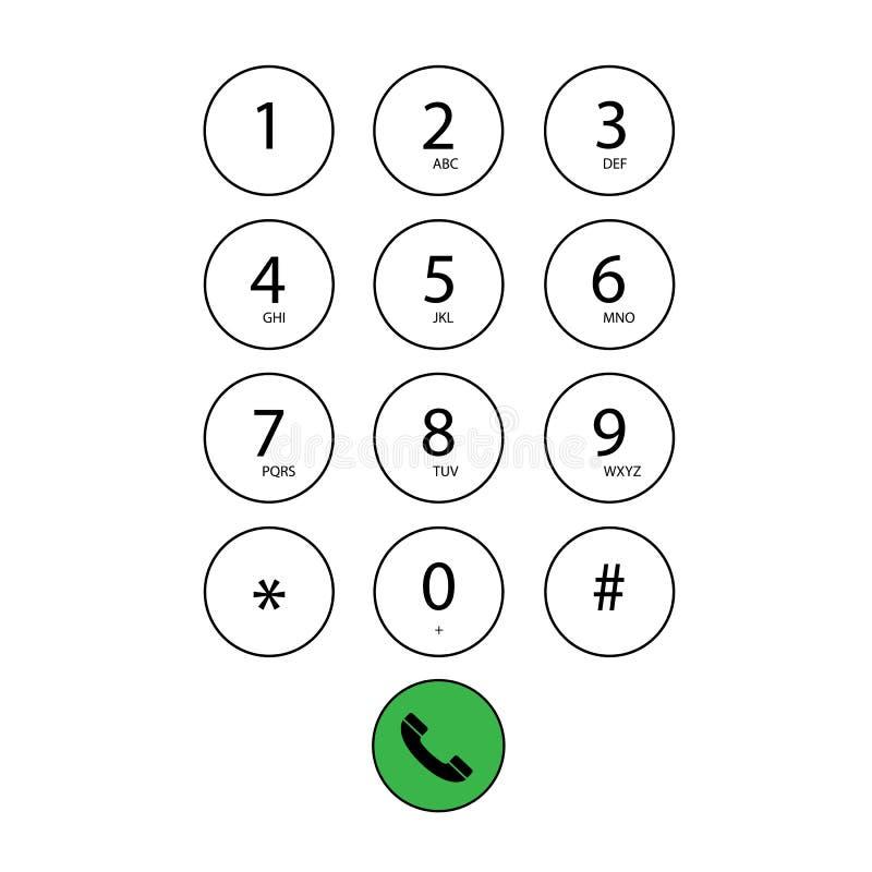 Επίπεδο αριθμητικό πληκτρολόγιο για το τηλέφωνο ελεύθερη απεικόνιση δικαιώματος