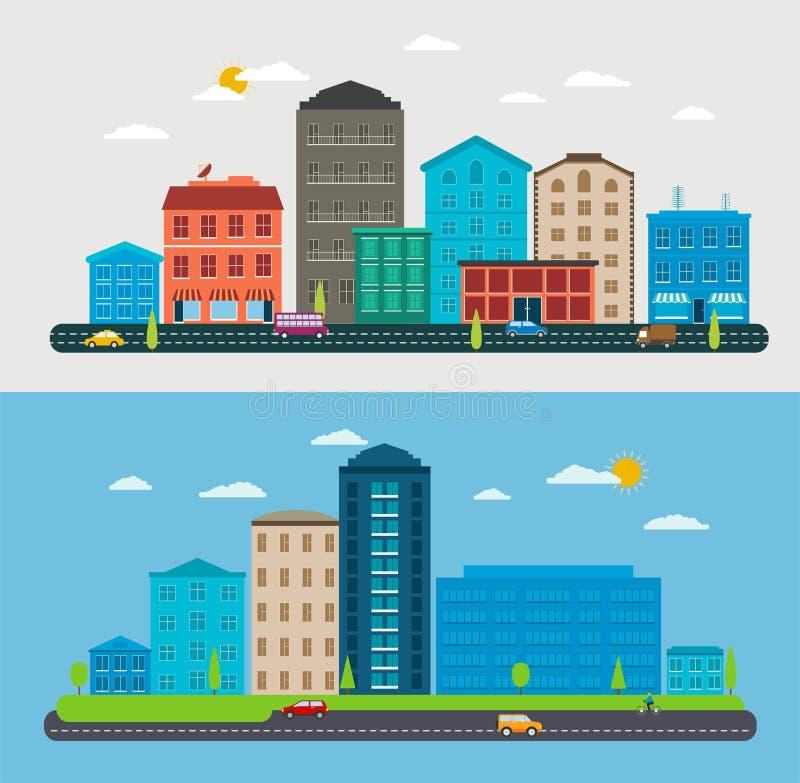 Επίπεδο αστικό τοπίο σχεδίου, σκηνή πόλεων σύνθεσης απεικόνιση αποθεμάτων