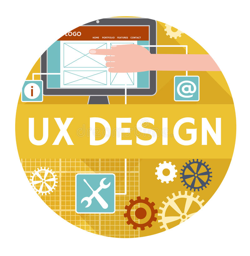 Επίπεδο εικονίδιο ή έμβλημα για το σχέδιο ux απεικόνιση αποθεμάτων