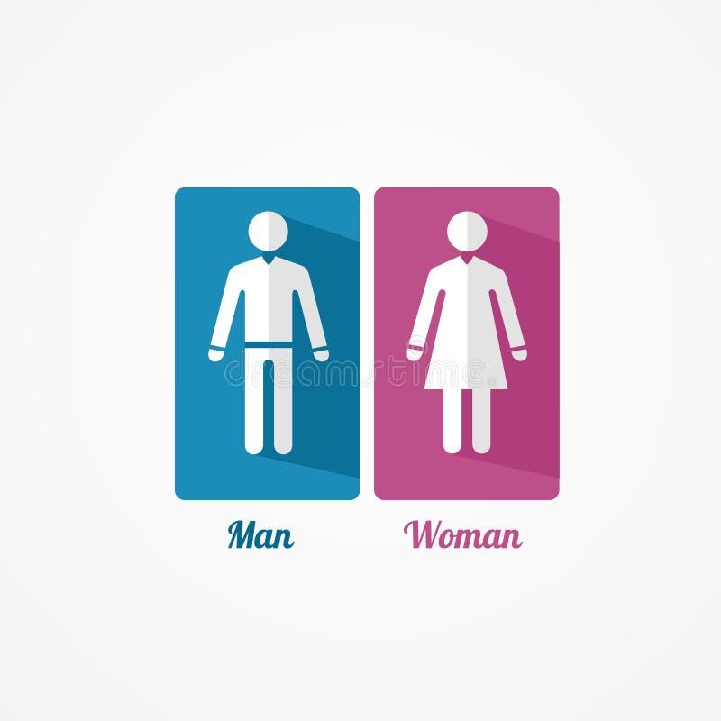 Επίπεδο εικονίδιο ανδρών και γυναικών με τις σκιές ελεύθερη απεικόνιση δικαιώματος