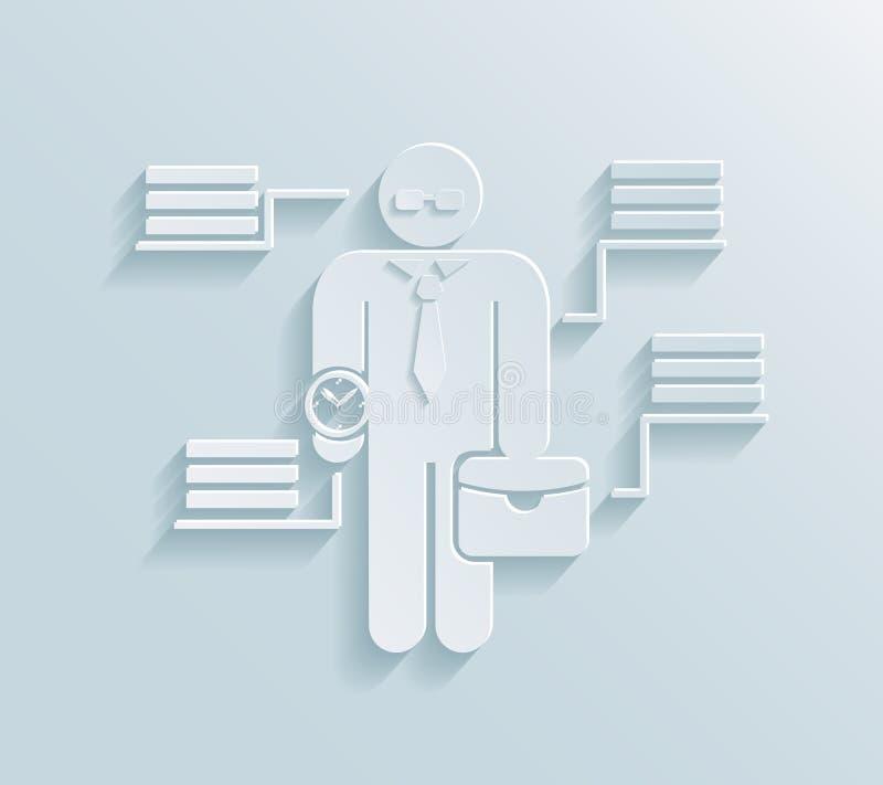Επίπεδο εικονίδιο επιχειρηματιών εγγράφου διανυσματική απεικόνιση