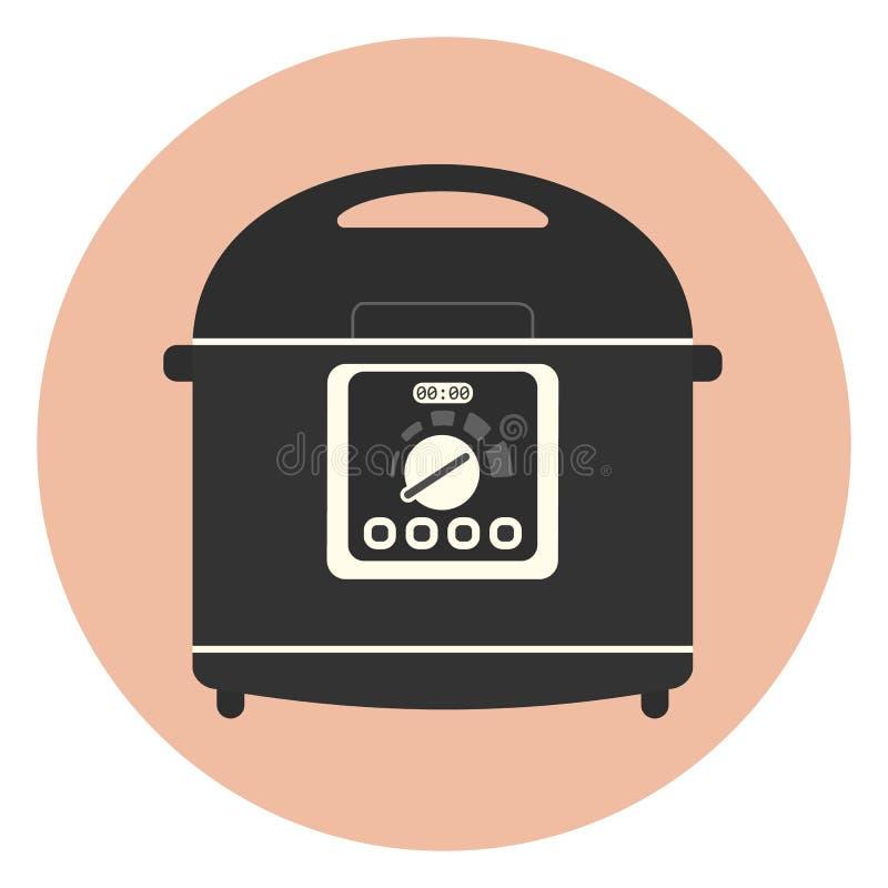 Επίπεδο εικονίδιο μηχανών κουζινών multicooker, crockpot απεικόνιση αποθεμάτων