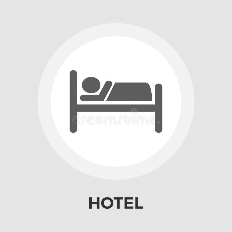 Επίπεδο εικονίδιο ξενοδοχείων ελεύθερη απεικόνιση δικαιώματος