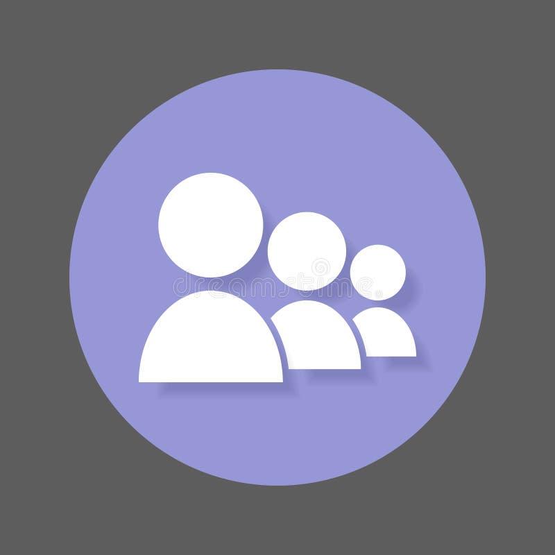 Επίπεδο εικονίδιο ομάδας Χρήστες γύρω από το ζωηρόχρωμο κουμπί, κυκλικό διανυσματικό σημάδι ανθρώπων με την επίδραση σκιών διανυσματική απεικόνιση