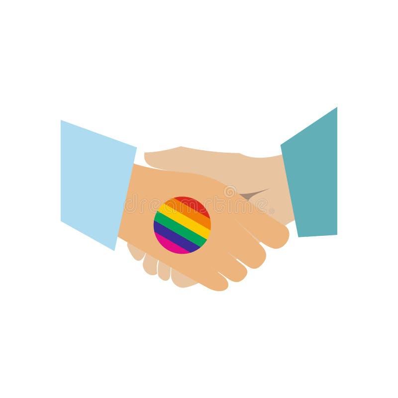 Επίπεδο εικονίδιο ουράνιων τόξων χειραψιών ομοφυλοφιλικό ελεύθερη απεικόνιση δικαιώματος