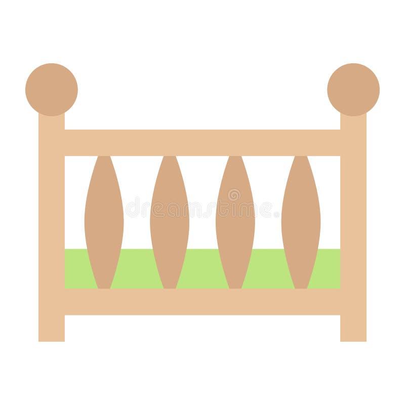 Επίπεδο εικονίδιο παχνιών μωρών, κούνια μωρών και κρεβάτι απεικόνιση αποθεμάτων