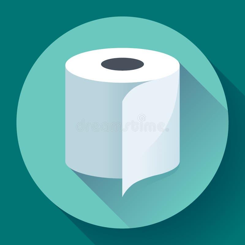Επίπεδο εικονίδιο χαρτιού τουαλέτας διανυσματική απεικόνιση